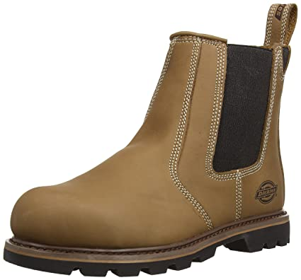 Dickies Fife Safety Dealer Boot Leather Steel Toe Work Workwear Tan