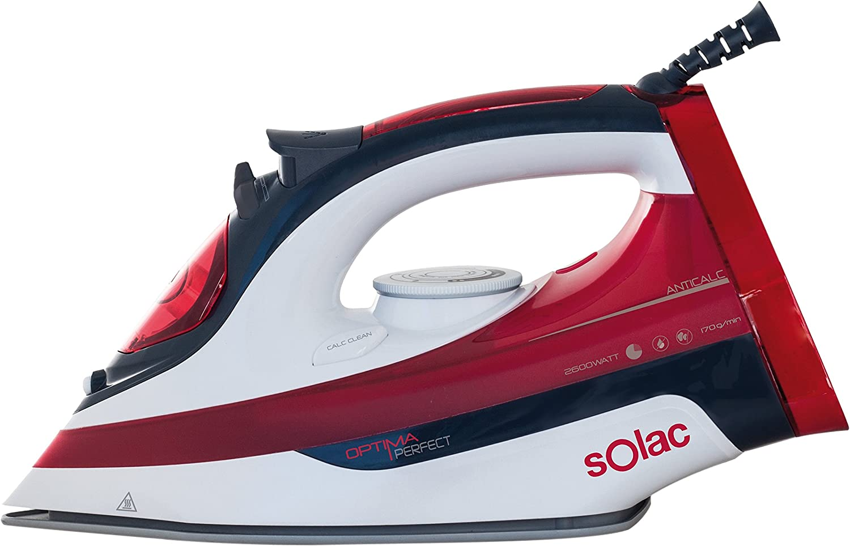 Solac PV2014 Optima Perfect - Plancha de vapor para ropa de 2.600 W de potencia, suela cerámica y caudal de vapor regulable