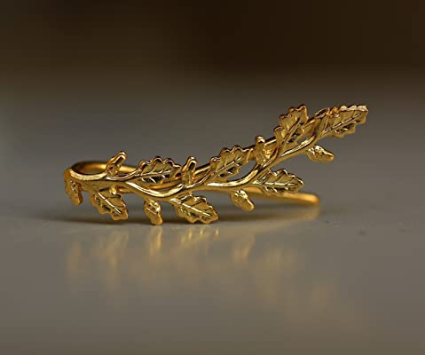 Pair handmade gold branch ear pin earring made of 18k gold plated brass, leaf ear cuff earrings for nature jewelry lovers.