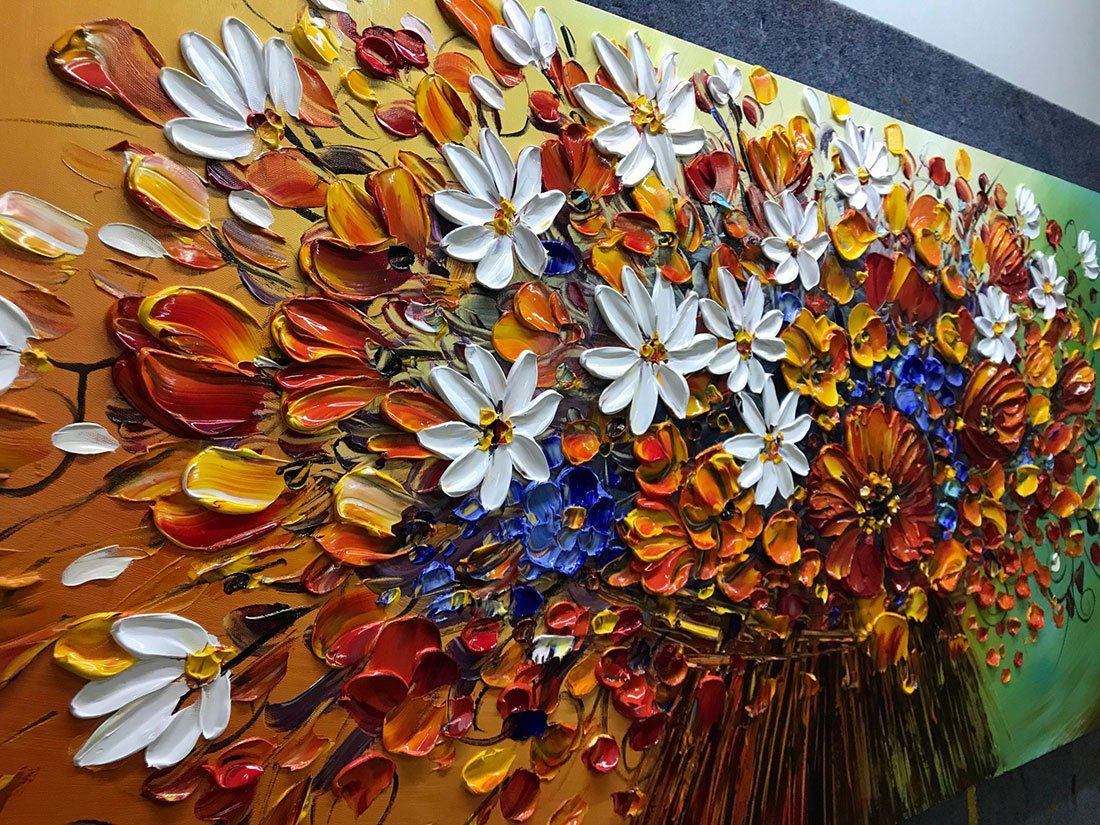 Yotree Paintings, 24x48 Inch Paintings Brilliant flowers Oil Hand Painting Painting 3D Hand-Painted On Canvas Abstract Artwork Art Wood Inside Framed Hanging Wall Decoration Abstract Painting by Yotree (Image #2)