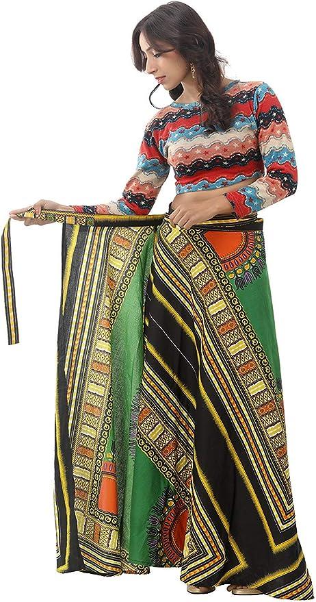 African Wax Print Maxi Wrap Skirt Lime Green Angelina Dashiki Print Lapa