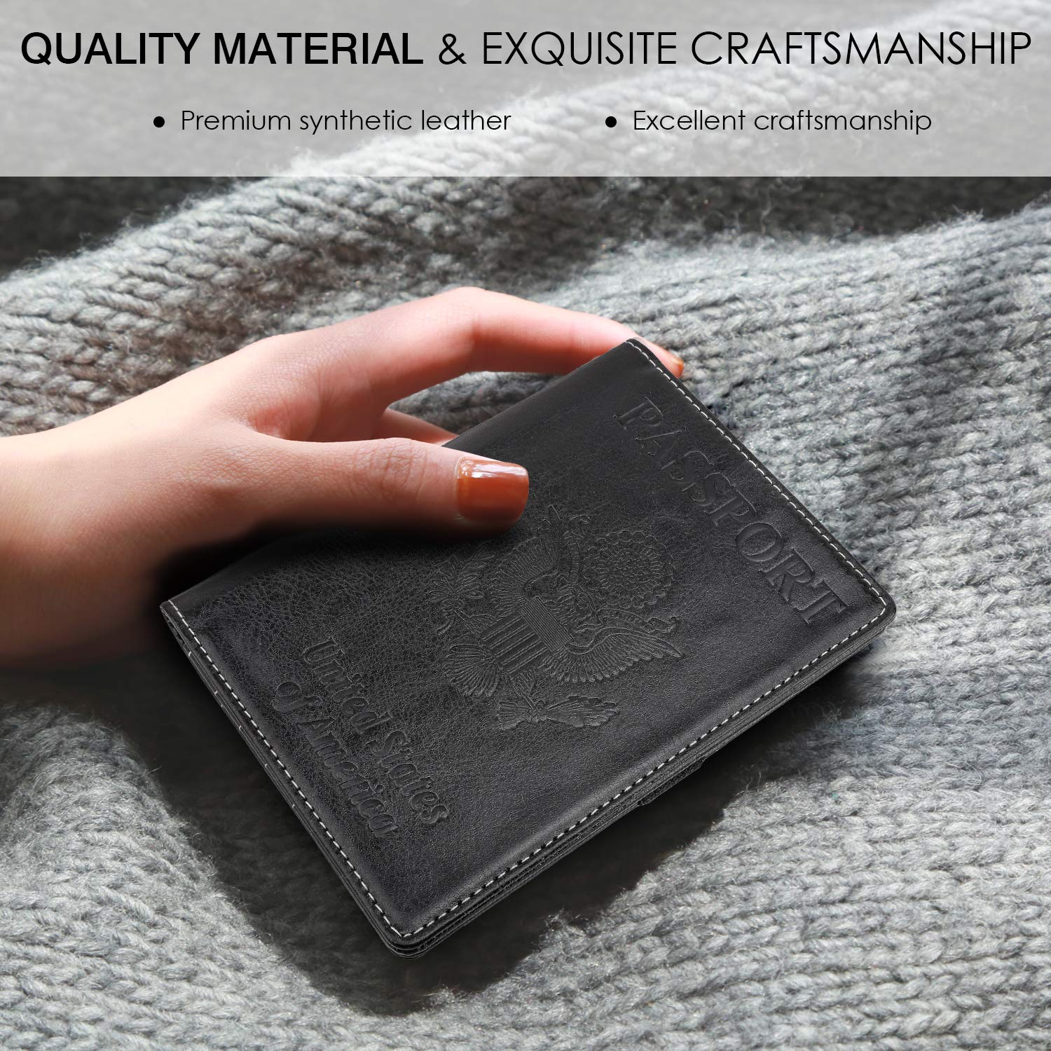 US Great Seal Black PU leather Travel Case Cover for Passport MoKo Passport Holder