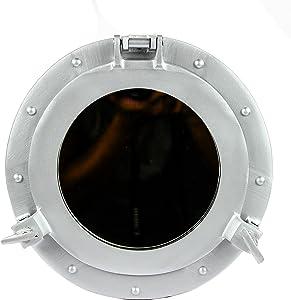 Nagina International Powder Coated Antique Vintage Nautical Premium Aluminum Pirate's Ship's Porthole Mirrors  Exclusive Wall Decor Accent (24 Inches, Silver Deco)