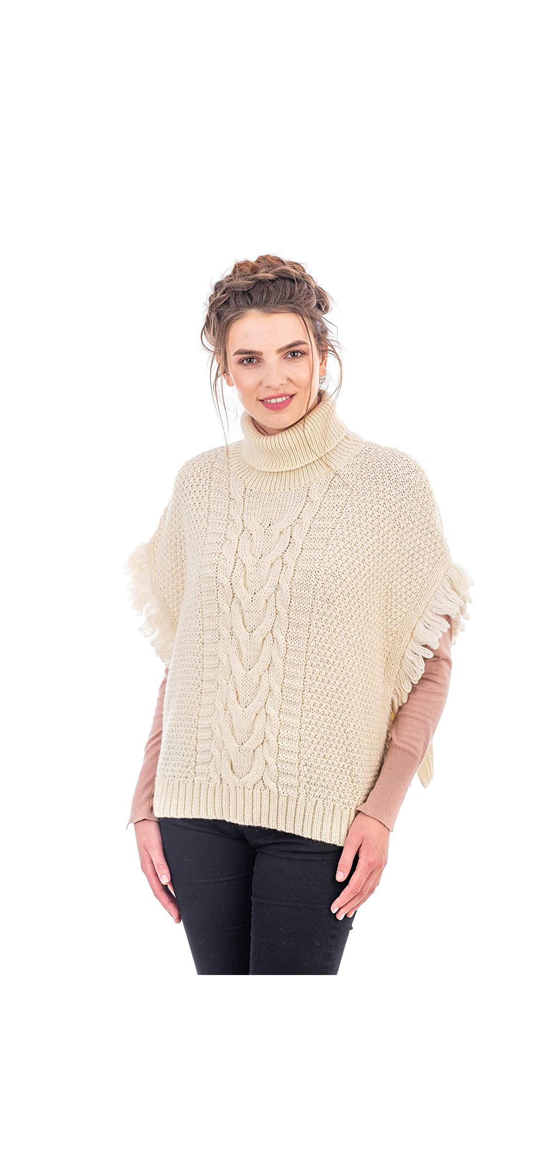 Irish Merino Wool Women Aran Cowl Neck Poncho