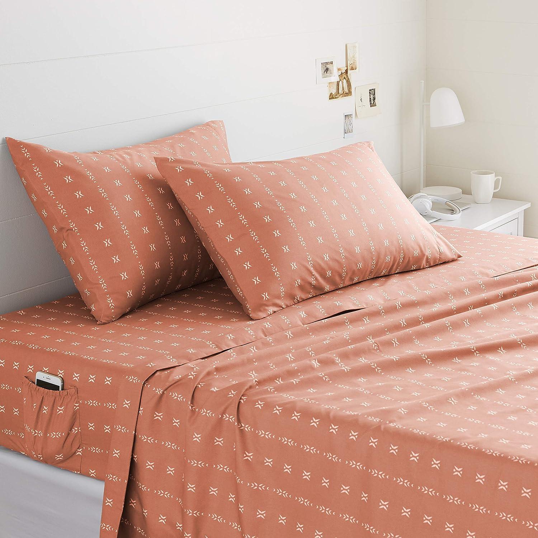 Basics Soft Microfiber Sheet Set with Elastic Pockets - Full, Salmon Simple Stripe: Home & Kitchen
