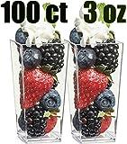 Zappy 100 3oz Tall Square Mini Dessert Cups Plastic Dessert Cups Tasting Plastic Shot Glass Shooter Cups Parfait Glasses Appetizer Bowls Trifle Bowl Tumbler Shooter 3 oz Dessert Cups 100