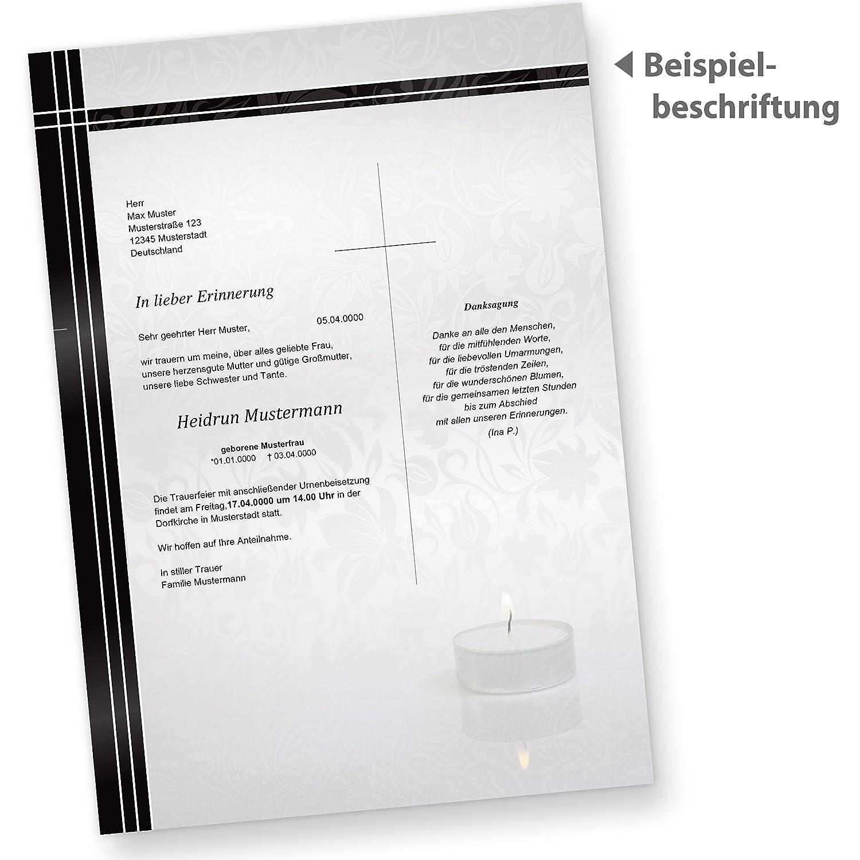 Briefpapier trauer 50 stück trauerpapier din a4 selbst bedruckbar für trauerfall bekanntgabe oder danksagung mit trauerrand und kerze passende
