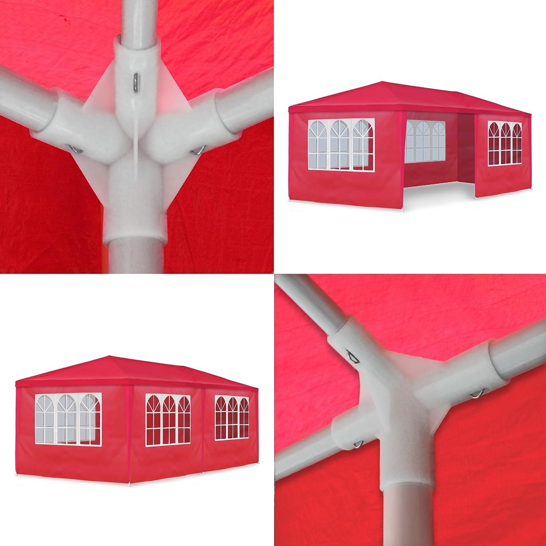 Rojo JOM Gazebo 3 x 6 m Mirador Pabell/ón Carpa de Jard/ín con 6 Paredes Laterales 110G PE