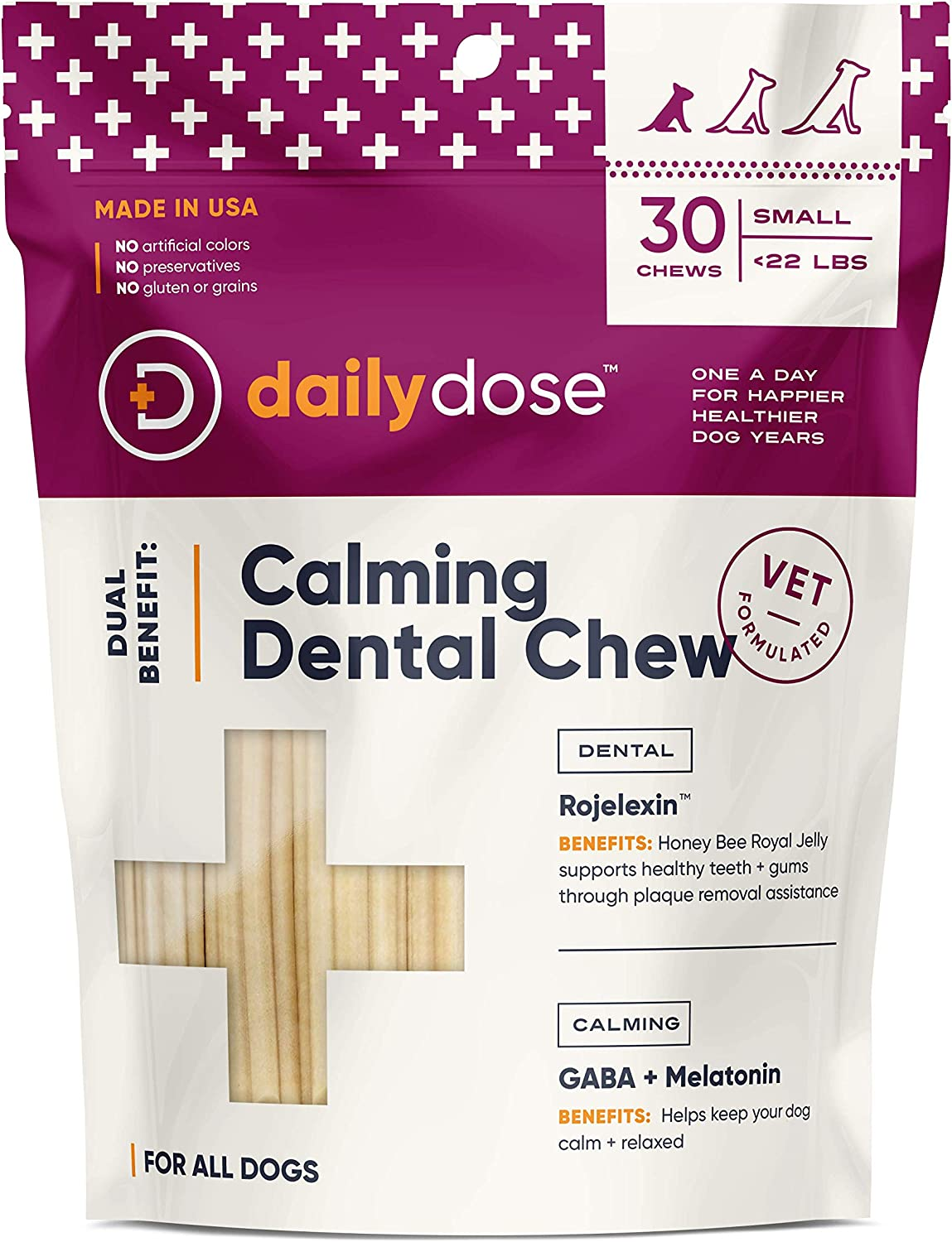 dailydose Dual Benefit Dog Dental Chews   Vet-Formulated Dental Treat + Daily Supplement   Calming, Joint, Skin, Heart Varieties   Removes Plaque for Healthy Teeth & Gums   Made in USA