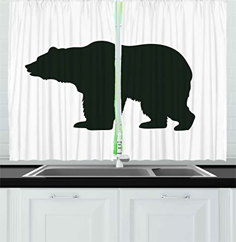 Amazon Com Ambesonne Nature Kitchen Curtains Grizzly Alaskan Bear Animal Wildlife Forest Mountain Canadian Artwork Image Window Drapes 2 Panel Set For Kitchen Cafe Decor 55 X 39 Black And White Home