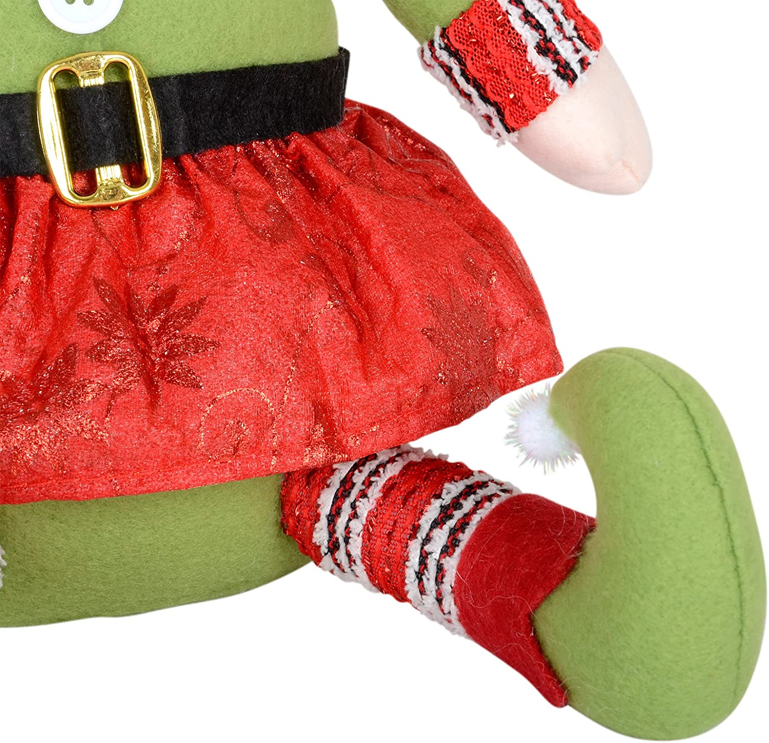SPARKLES 28cm Santas Little Helper Elf Girl Sitting Figure Christmas Xmas Room Decoration Red Green Festive Ornament Fabric Design Weighted Base For Indoor Use