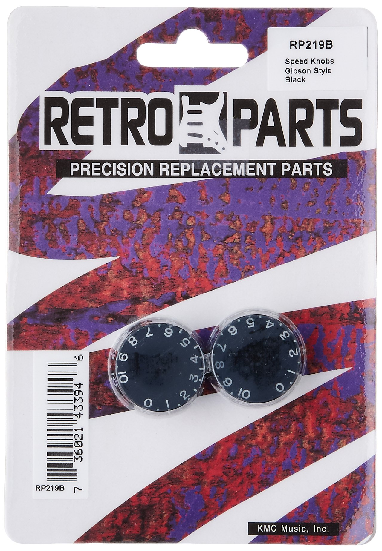 Retro Parts RP219B Gibson Style Replacement Speed Knobs - Black