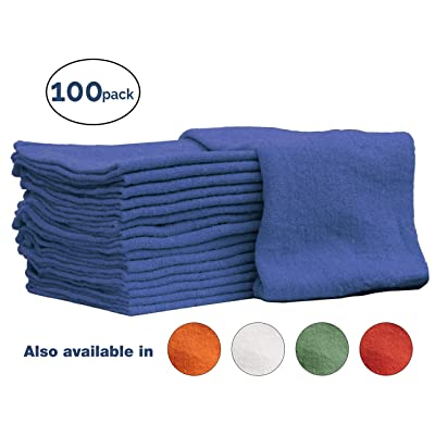 Nabob Wipers Auto-Mechanic Shop Towels, Shop Rags (100 Pack) 100% Cotton Commercial Grade Perfect for Your Garage, Auto Body Shop & Bar Mop (Blue): Automotive