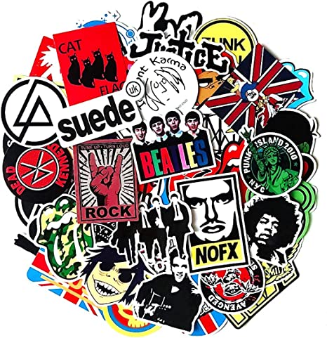 Band Stickers for Rock Music ,Vinyl Waterproof Stickers for Guitar Bumper Bass Drum Skateboard Motorcycle Travel Suitcase 100pcs