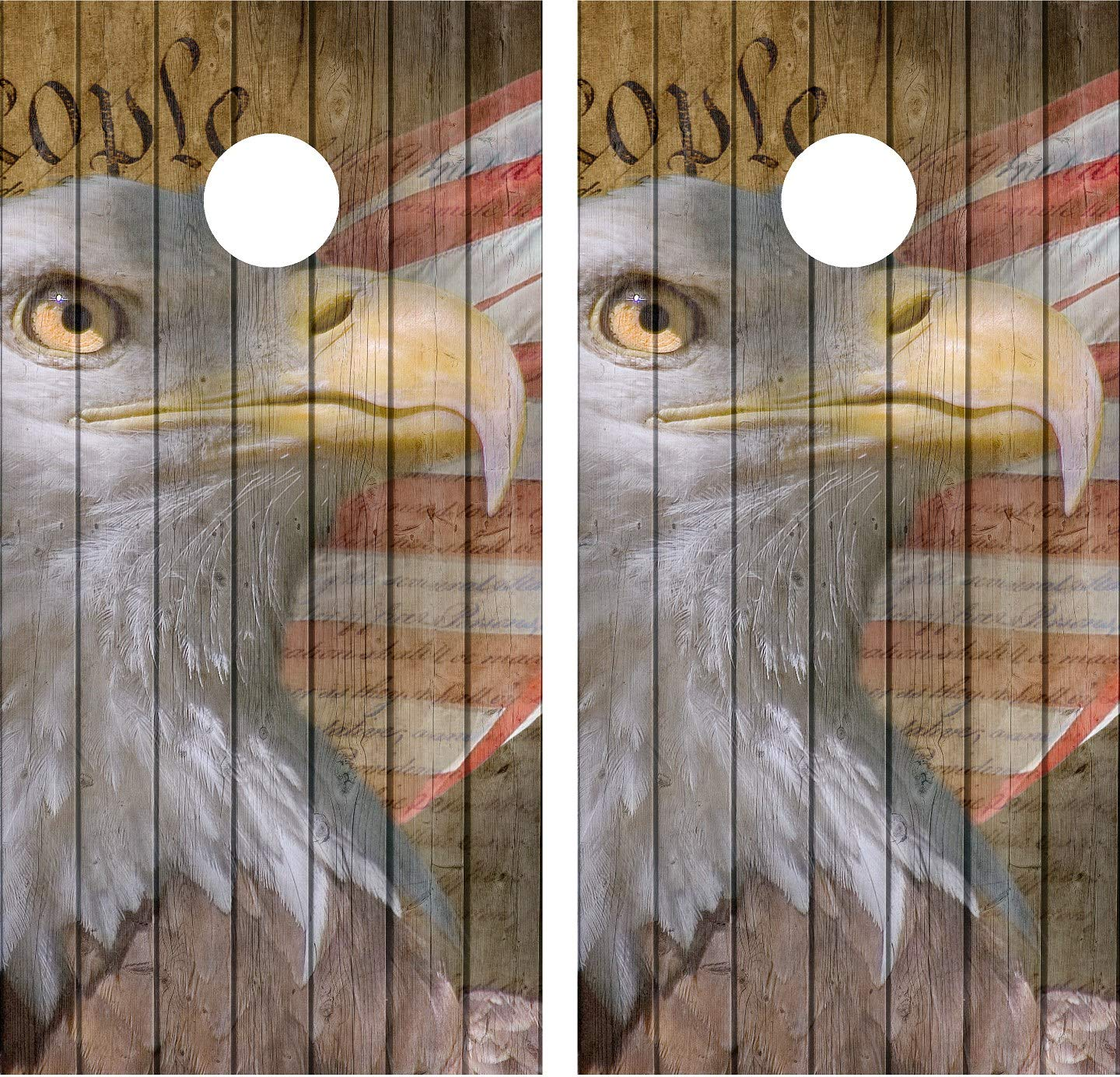 avgrafx 3M Cornhole Wrap Decal Distressed Wood Eagle We People 2 Laminated