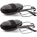 DOUBLETAKE 2 Pairs Foldable Readers in Portable Nylon Zip Cases Folding Reading Glasses - Choose Your Magnification