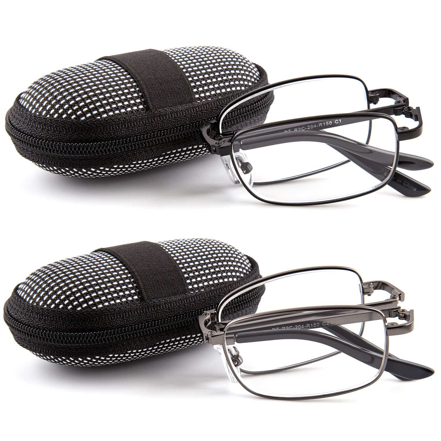 DOUBLETAKE 2 Pack Foldable Readers w Zip Case Reading Glasses - 1.50x by DOUBLETAKE