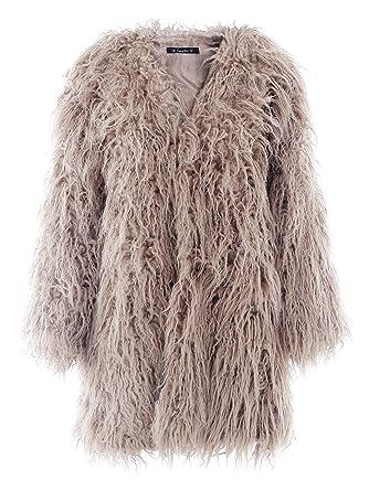 Nachfüllkassetten für Simplee Apparel Damen Herbst Winter Warm flauschiges Kunstfell  Mantel Jacke Oberbekleidung, Brown 2 d955296d29