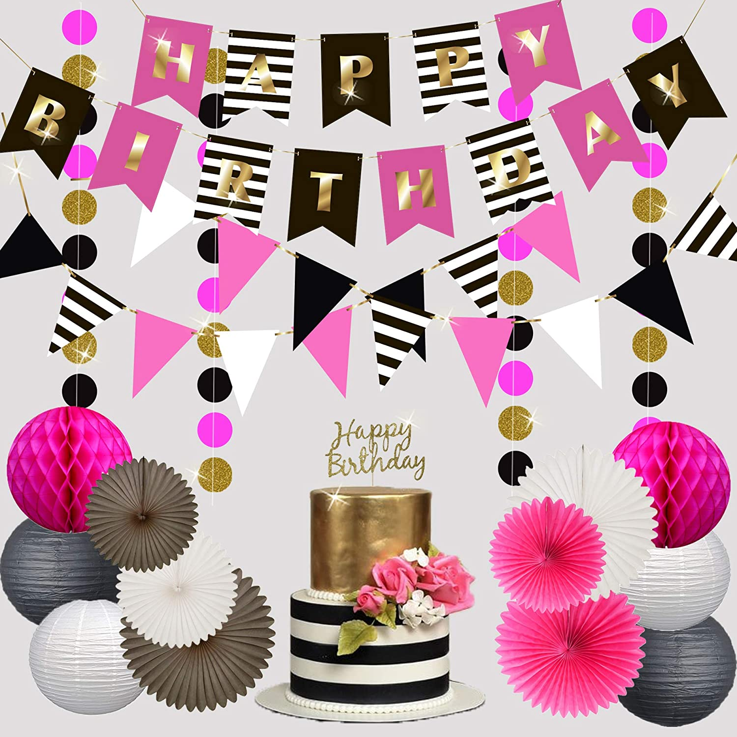 Premium happy birthday decorations for girls women party set kit hot pink gold black white kate spade inspired banner garland bunting paper lanterns