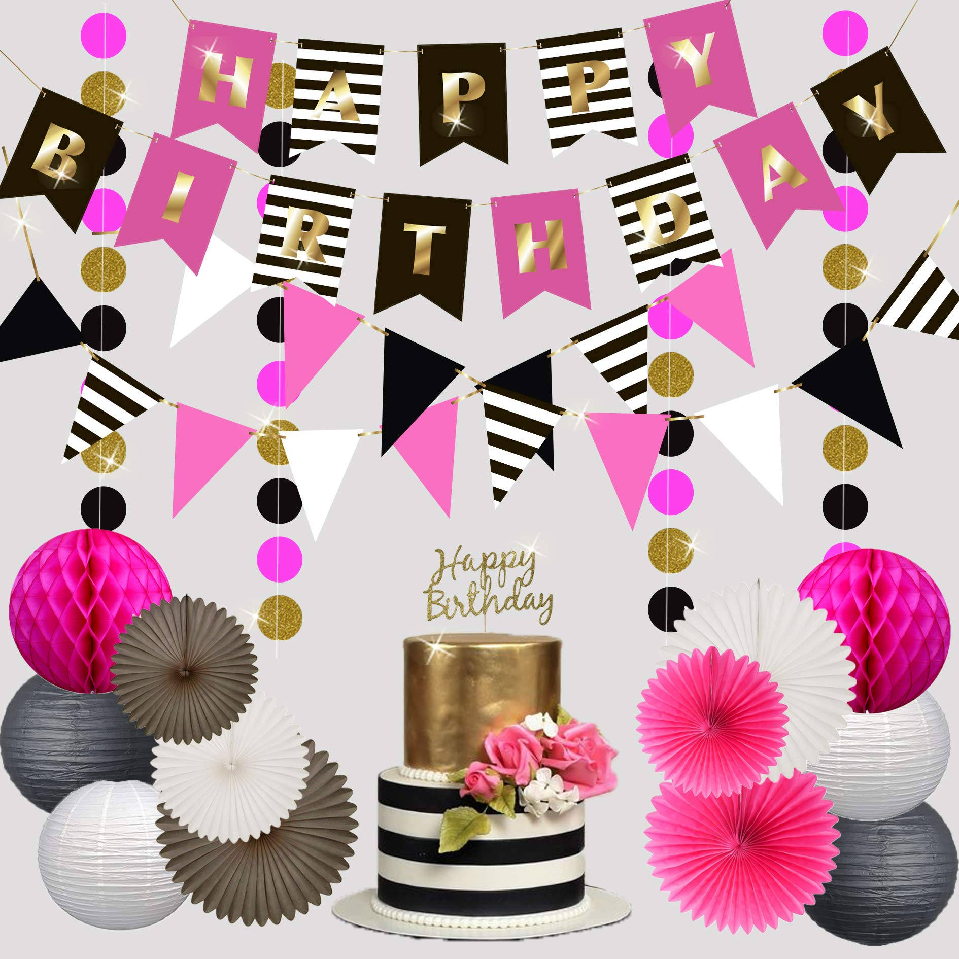 Premium Happy Birthday Decorations for Girls Women Party Set Kit | Hot Pink Gold Black White | Kate Spade Inspired |Banner Garland Bunting | Paper Lanterns | Honeycomb Balls | Tissue Fans| Cake Topper