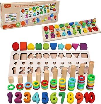 Felly Jouet Montessori Mathematiques Bebe 1 2 3 Ans Jeux Educatif Puzzles En Bois Apprendre A Compter Et Les Couleurs Jeu Reconnaissance De Numero La Forme Puzzle Parfait Cadeau Enfant Amazon Fr Jeux