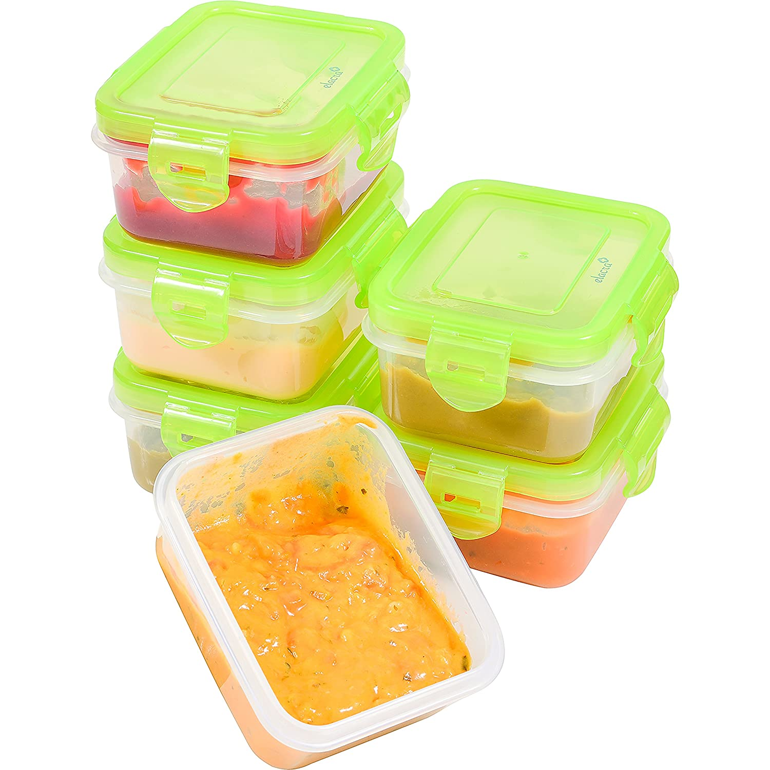 Elacra [6oz, 6-Pack] Baby Food Storage, Small Plastic Containers with BPA-Free Airtight and Leakproof Lids, Freezer & Microwave Safe