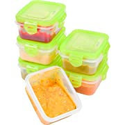 Elacra Baby Food Storage BPA Free Airtight Containers Set, Freezer & Microwave Safe, 6 Pack