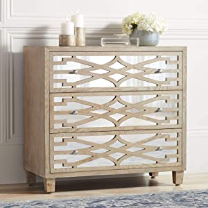 """Rowan 34"""" Wide Mirrored and Whitewash 3-Drawer Accent Chest - 55 Downing Street"""