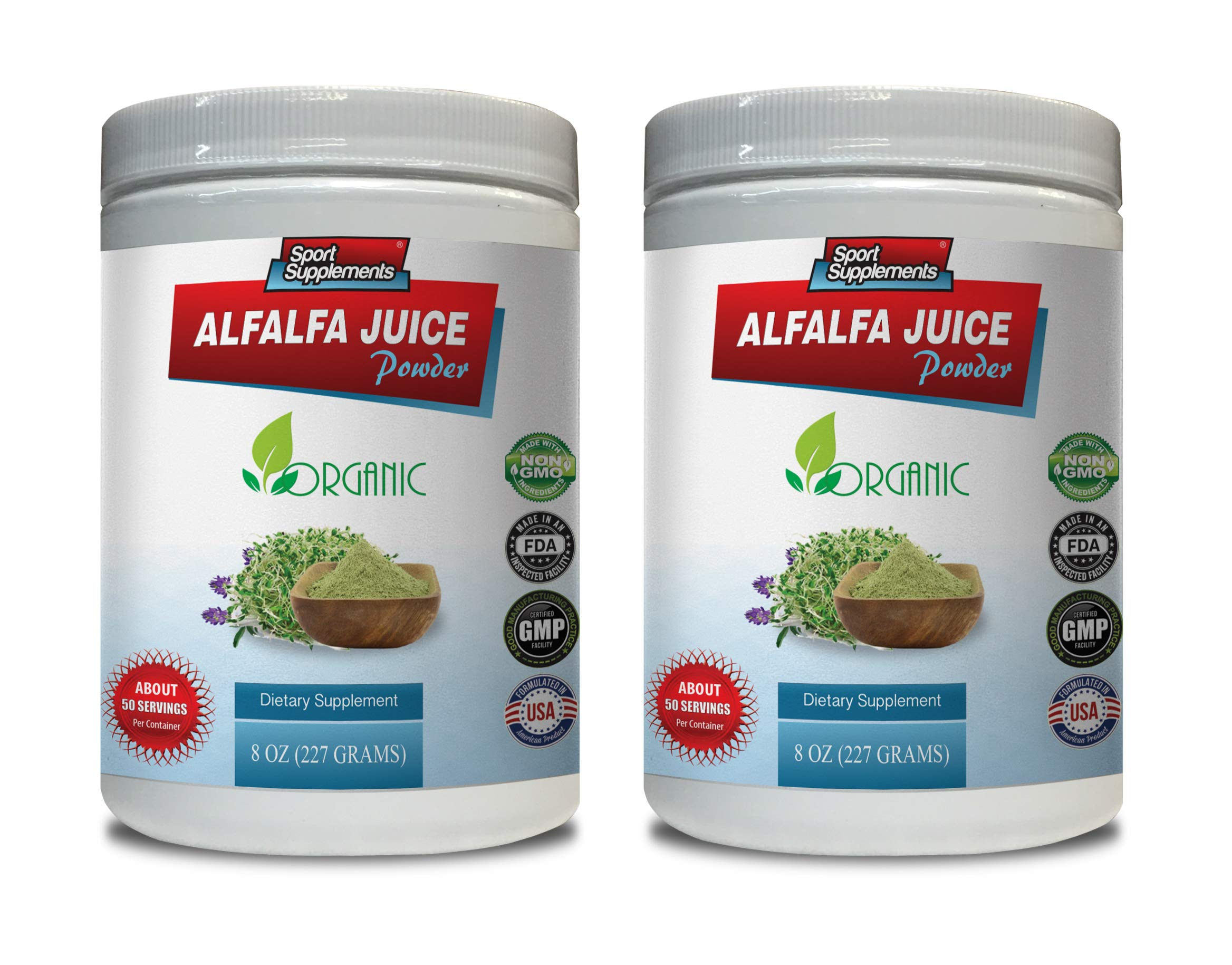 antioxidant Vitamin Supplement - Alfalfa Juice Powder - Organic Dietary Supplement - Alfalfa Powder Bulk - 2 Cans 16 OZ (100 Servings)