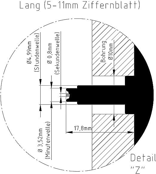 UTS Quarzuhrwerk f/ür Ziffernblatt 1-7mm mit Zeigersatz Metall gold zwiebelform
