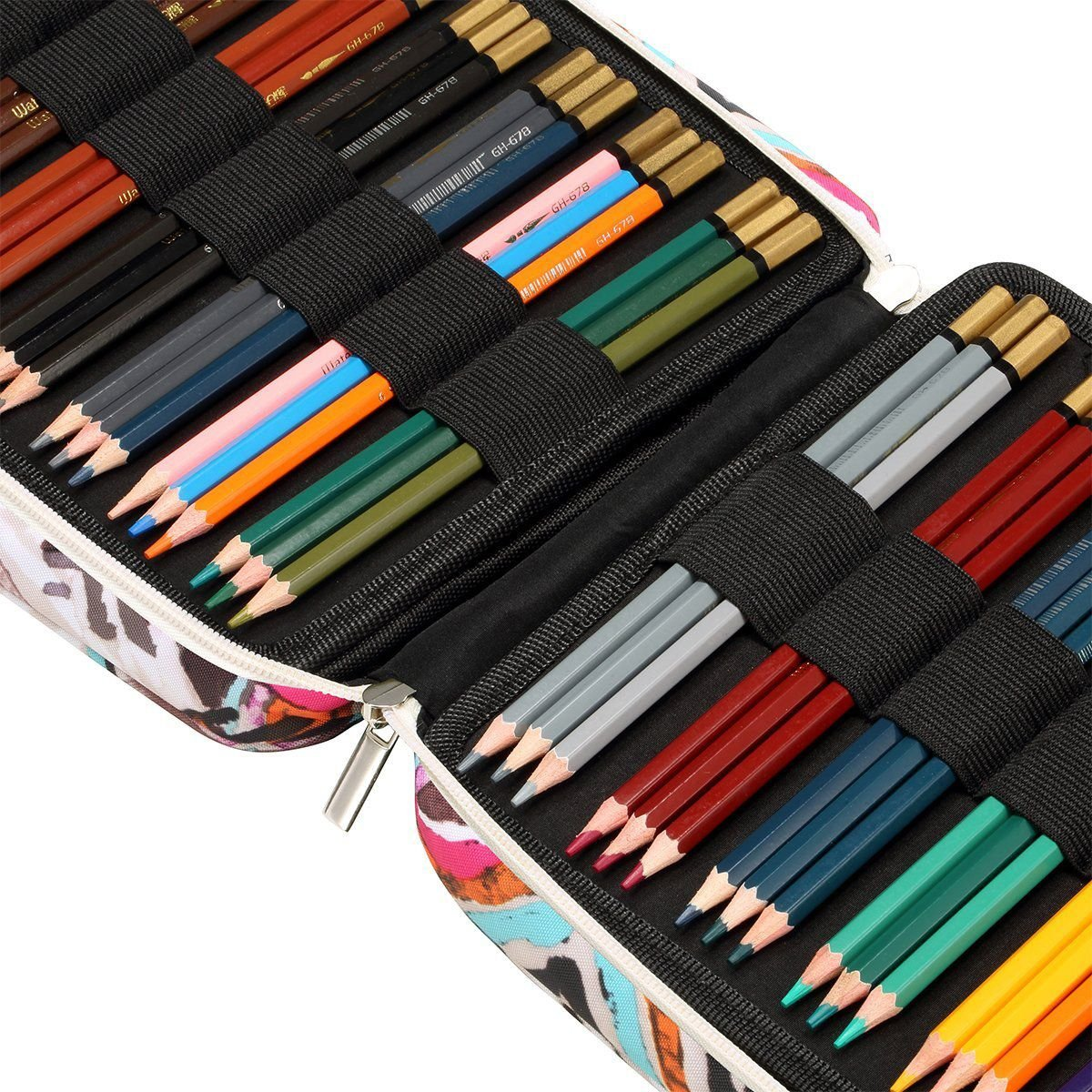 Nrpfell 150 Slots Colored Pencils Universal Pencil Bag Pen Case School Stationery PencilCase Drawing Painting Storage Pouch Pencil Box(Eyeglass Painted) by Nrpfell (Image #7)