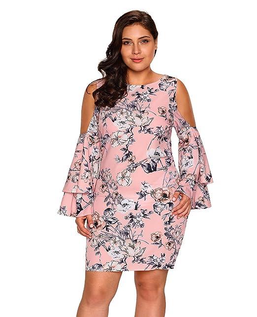 Womens Plus Size Cold Shoulder Floral Print Dress Sexy Round Neck