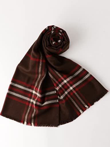 Merino Wool Scarf Plaid 3136-343-0329: Brown