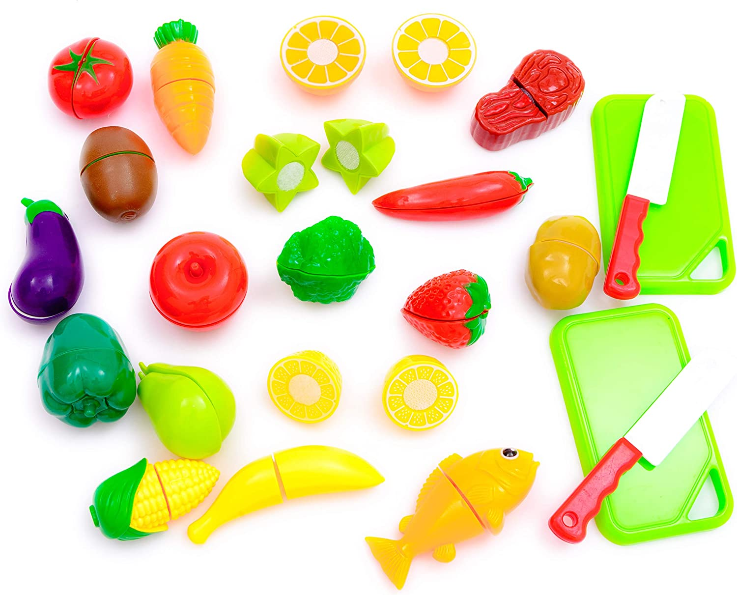 Play Food Fruit and Vegetables Toys for Kitchen Play Set with Copping Board and Plastic Knife with Storage Bag (23 Pieces)