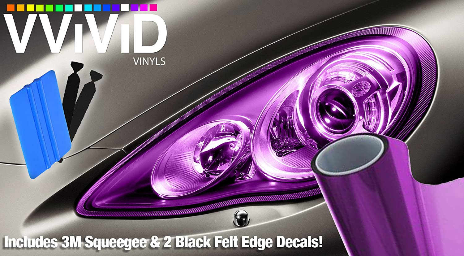 Vvivid extra wide headlight taillight vinyl tint wrap 16 x 48 roll including 3m blue squeegee 2x black felt edge decals purple