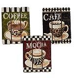 Amazon Price History for:Coffee House Cup Mug Latte Java Mocha Wooden Wall Art Home Decor, Set of 3