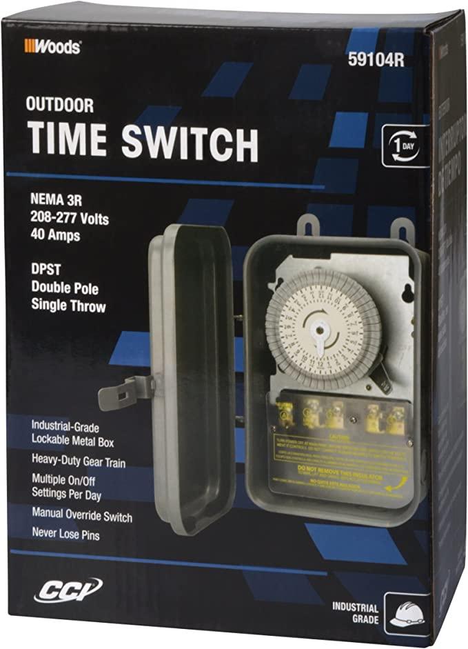 Woods 59104RWD Outdoor 24-Hour Heavy Duty Mechanical Time Switch, 208/277V on