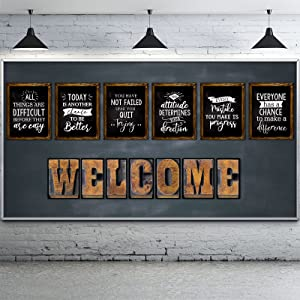 Ireer Industrial Chic Bulletin Board Set Laminated Inspiring Quote Poster Motivational Work Posters Positive Affirmation Bulletin Board Rustic Welcome Wall Decor for Classroom Office Bedroom Farmhouse