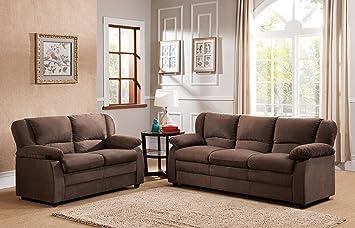 Kings Brand Furniture Chocolate Microfiber Sofa Loveseat Living Room Set