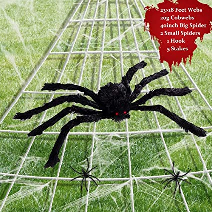 Halloween Decor Decorations for Outdoor Yard and Indoors White Scale Rank 2 Pack of 9 Feet Giant Spider Web Set with Super Stretch Cobweb