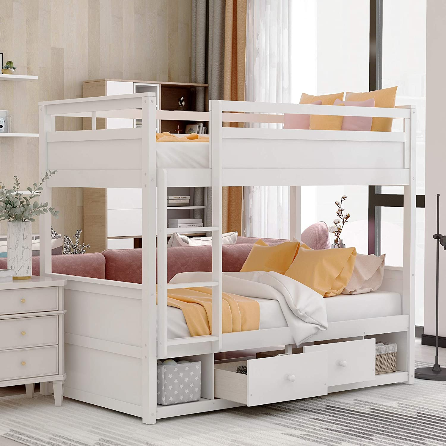 Amazon Com Merax Twin Over Twin Bunk Bed Wood Bunk Bed With Two Drawers Two Storage For Kids Teens No Box Spring Needed White Twin Over Twin Kitchen Dining