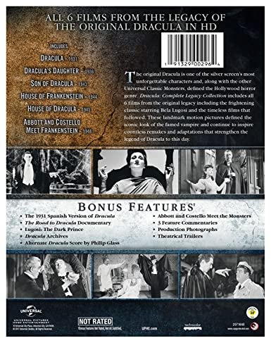 Amazon.com: Dracula: Complete Legacy Collection [Blu Ray]: Bela Lugosi,  Otto Kruger, Jr. Lon Chaney, Boris Karloff, Bud Abbott, David Manners,  Gloria Holden ...