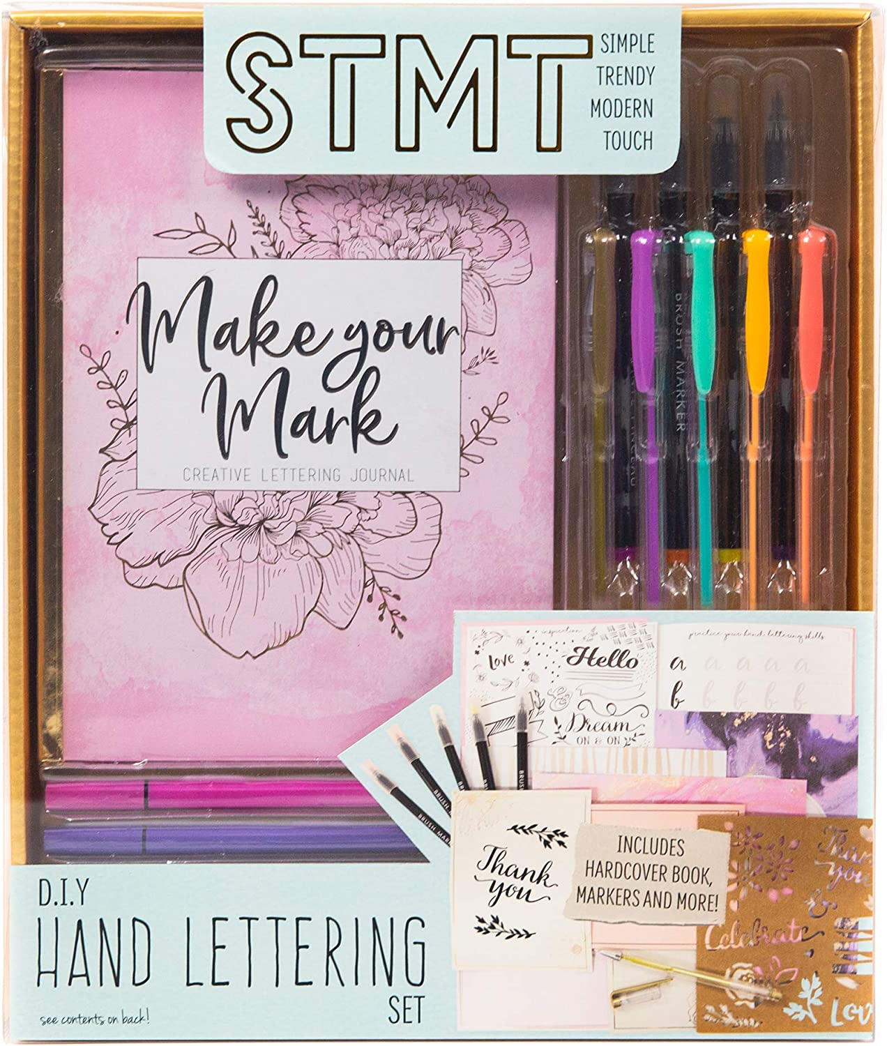 Brush Markers Stamp Pad STMT Social Stationery by Horizon Group USA Bullet Journaling Hand Lettering 6 Wooden Stamps Cards Envelopes Scrapbooking