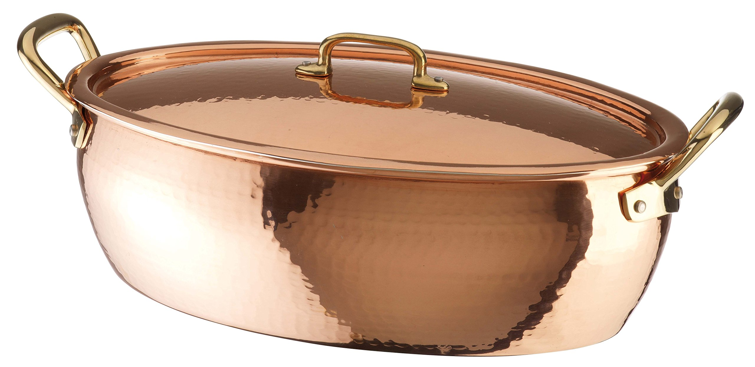 Paderno World Cuisine Deep Oval Copper-Tin Roasting Pan with Copper Lid