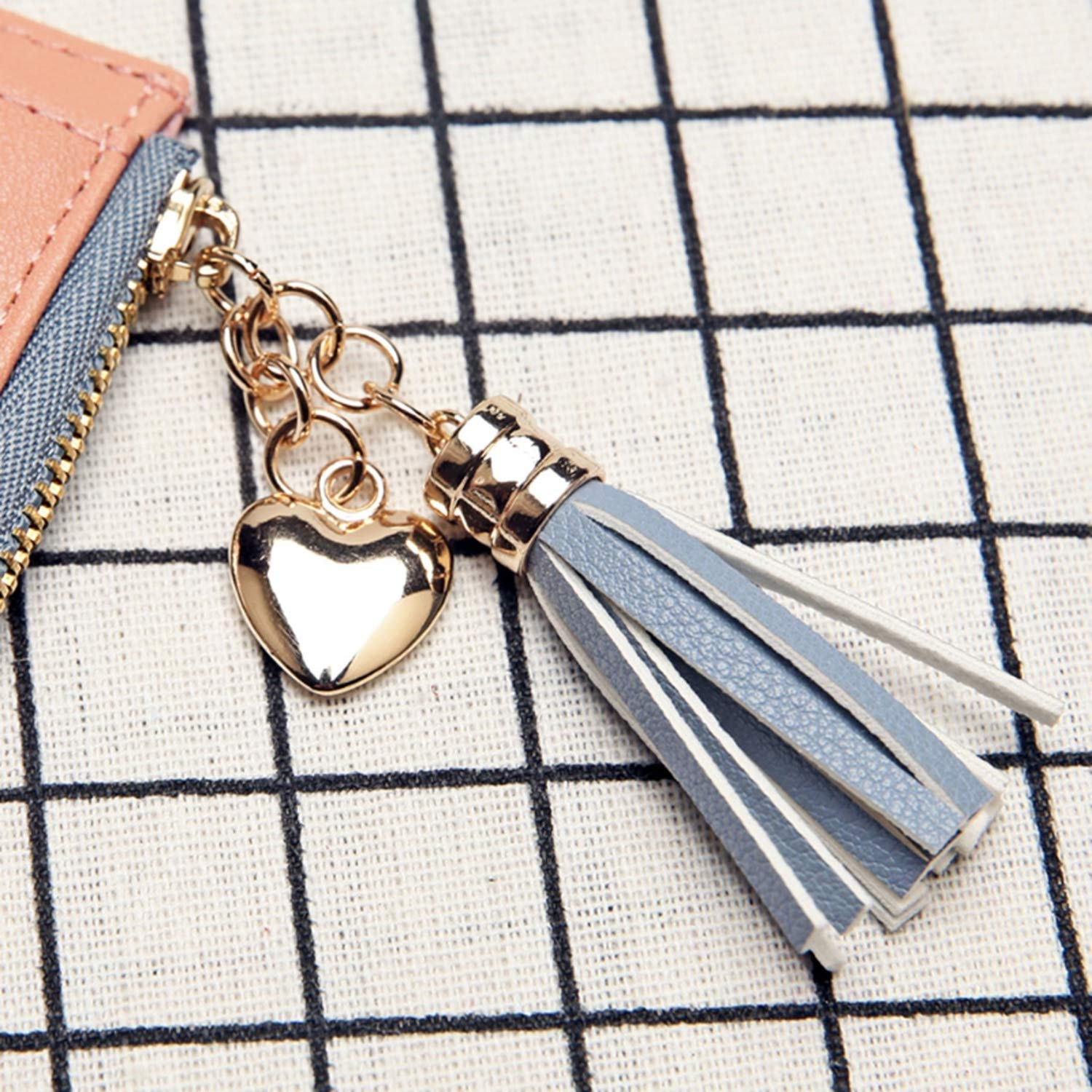 Pretty-GENTLE 5 Color New Money Clips Women Tassel Coin Bag Leather Lady Simple Bifold Small Purse Mini