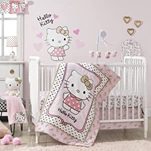 Bedtime Originals Hello Kitty Luv Hearts 3 Piece Crib Bedding Set, Pink/Gold