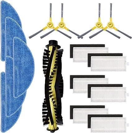 Kit de accesorios de repuesto para aspiradora robot IKOHS netbot S15 Pack de 6 filtros 5 trapeadores 4 cepillos laterales TeKeHom