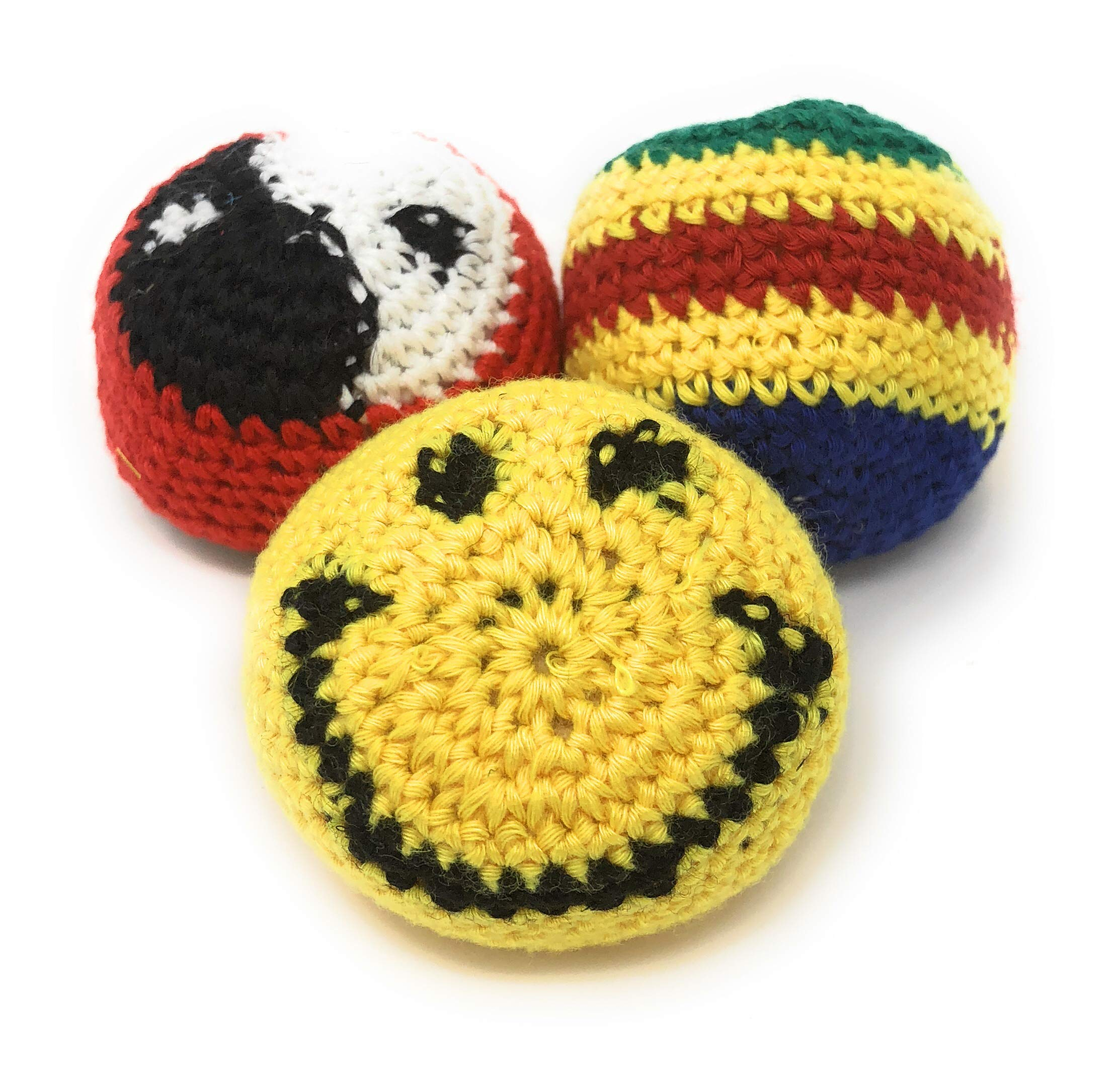 Hacky Sacks - Footbags (3 Pack) with Cool Knitted Designs, Filled with Plastic Beads and Styrofoam Balls for Better Play by Happy Sacks