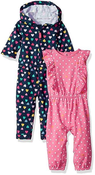 db3ee6561 Carter's - Pelele de una Pieza para niña (2 Unidades): Amazon.com.mx ...