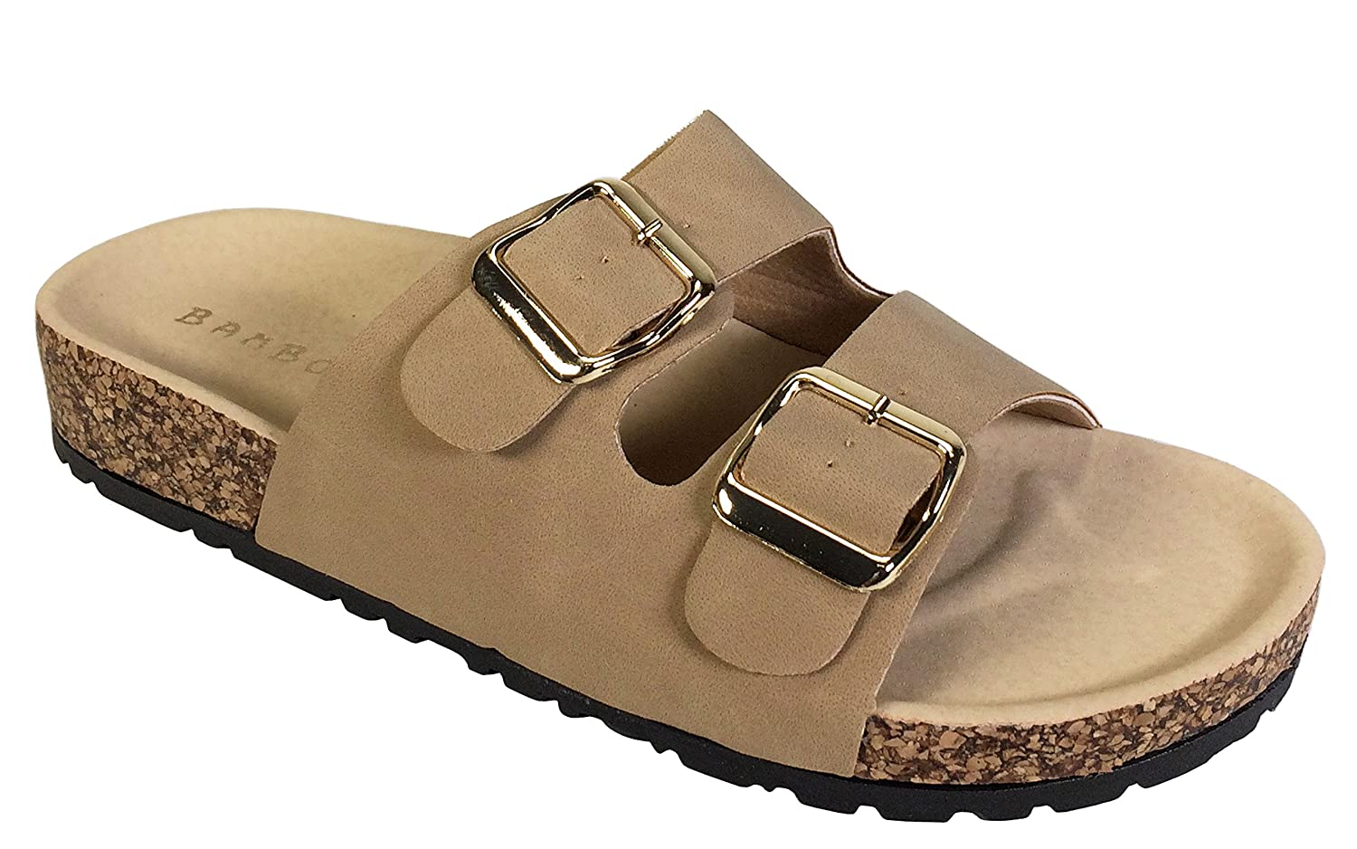 BAMBOO Womens Double Strap and Buckle Footbed Sandal